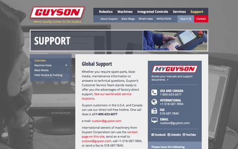 Screenshot of Support Page guyson.com - Support | Guyson - captured Feb. 2, 2016