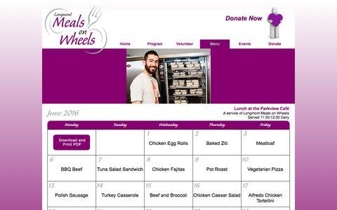 Screenshot of Menu Page longmontmeals.org - Meal Calendar | Longmont Meals on Wheels - captured June 14, 2016