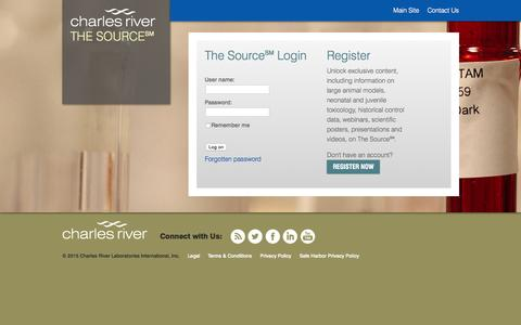 Screenshot of Login Page criver.com - The Source Login | Charles River - captured June 17, 2015