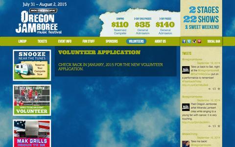 Screenshot of Signup Page oregonjamboree.com - Volunteer Application | Oregon Jamboree - captured Sept. 23, 2014