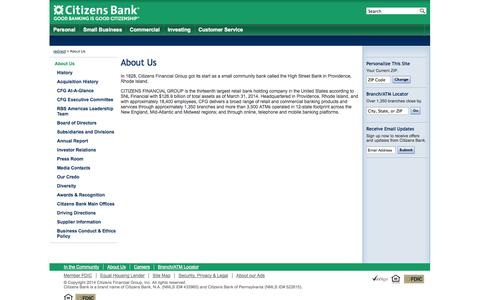 Screenshot of About Page citizensbank.com - About Us | Citizens Bank - captured Sept. 18, 2014
