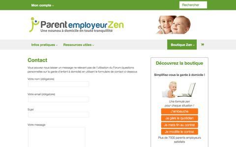 Screenshot of Contact Page parent-employeur-zen.com - Contact - Parent employeur Zen - captured Sept. 25, 2016