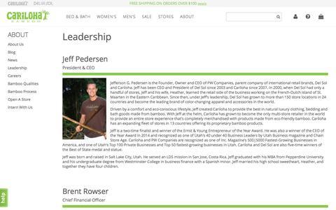 Screenshot of Team Page cariloha.com - Leadership - captured Sept. 22, 2016