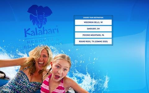 Screenshot of Home Page kalahariresorts.com - Kalahari Waterparks, Resorts & Conventions - captured June 26, 2017
