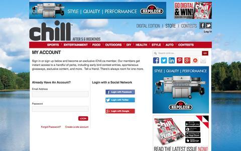 Screenshot of Login Page ichill.ca - My Account - captured Oct. 2, 2014