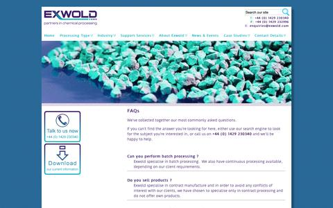 Screenshot of FAQ Page exwold.com - Frequently asked questions about chemical processing at Exwold | exwold.com - captured Oct. 3, 2014