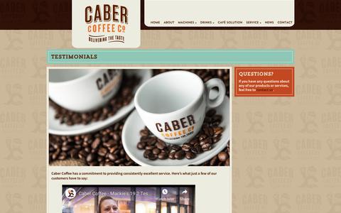 Screenshot of Testimonials Page cabercoffee.com - Testimonials - Caber Coffee - captured Nov. 4, 2018