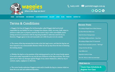 Screenshot of Terms Page waggie.com.sg - Terms & Conditions - captured Aug. 20, 2019