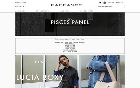Screenshot of Home Page rabeanco.com - RABEANCO | Luxury and Fashion Leather Handbags and Accessories - captured Nov. 12, 2017