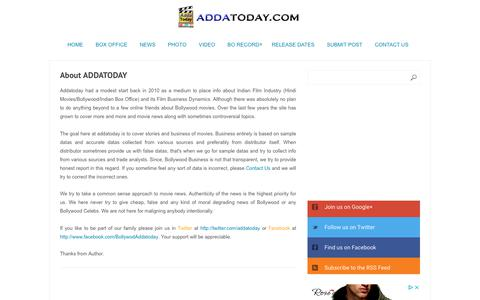 Screenshot of About Page addatoday.com - About ADDATODAY - captured Oct. 16, 2018