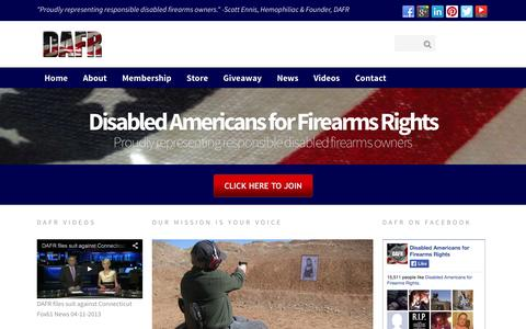 Screenshot of Home Page dafr.org - Fighting for the 2nd Amendment firearms rights of responsible disabled Americans - captured Oct. 5, 2014