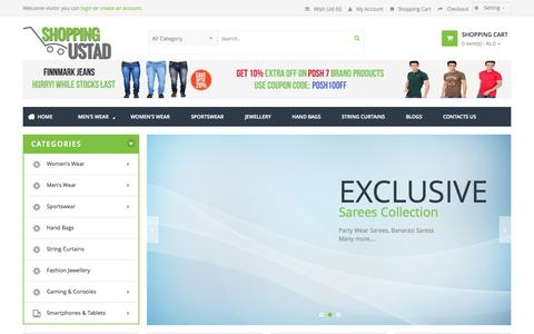 Screenshot of Home Page shoppingustaad.com - Online Shopping in India - Men & Women Clothing, jewellery, Books, Handbags, Home Furnishings - captured Sept. 25, 2014