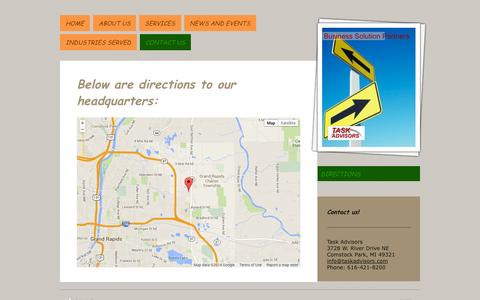 Screenshot of Maps & Directions Page taskadvisors.com - Directions to Task Advisors, Grand Rapids, Michigan - captured Oct. 1, 2014