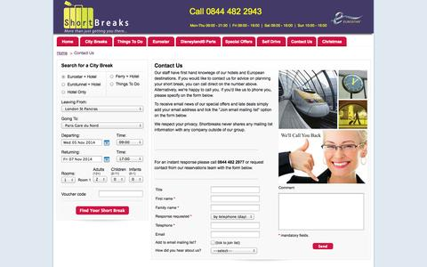 Screenshot of Contact Page short-breaks.com - Short Breaks Ltd | Eurostar Short Break Deals to Europe from just £69 - captured Nov. 3, 2014