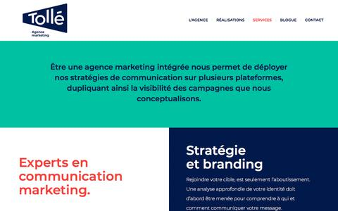 Screenshot of Services Page xn--toll-epa.marketing - Nos services - Tollé Agence Marketing - captured Aug. 7, 2018