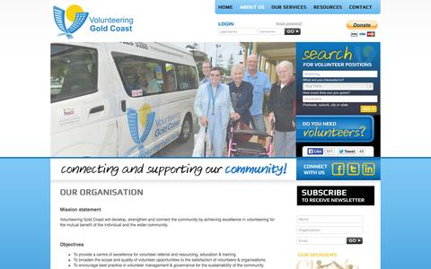 Screenshot of About Page volunteeringgc.org.au - About - Our Organisation - captured Oct. 26, 2014
