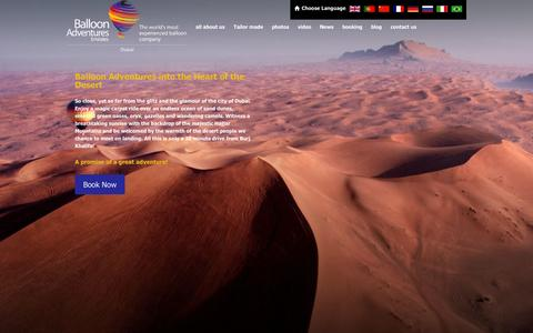 Screenshot of Home Page ballooning.ae - Balloon Flights Dubai, Hot Air Balloon Rides Dubai, Balloon Tours - Balloon Adventures Emirates - captured Sept. 23, 2014