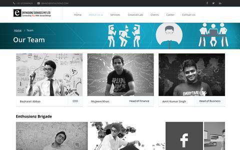 Screenshot of Team Page enthusionz.com - Enthusionz Services Pvt Ltd - Social Media | Digital Marketing Agency | Content Marketing | Online Advertising | Social Media Optimization | Digital Marketing Strategy - captured Nov. 2, 2014