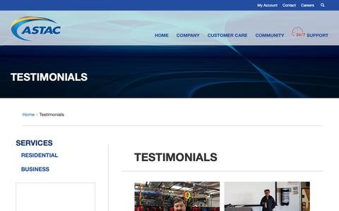 Screenshot of Testimonials Page astac.net - Testimonials | ASTAC - captured Oct. 4, 2018
