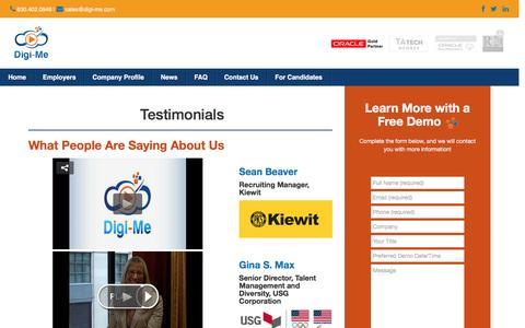 Screenshot of Testimonials Page digi-me.com - Testimonials – Digi-Me - captured Nov. 24, 2016