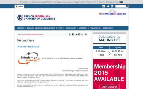 Screenshot of Testimonials Page facci.com.au - Testimonials | French-Australian Chamber of Commerce & Industry - captured Feb. 10, 2016