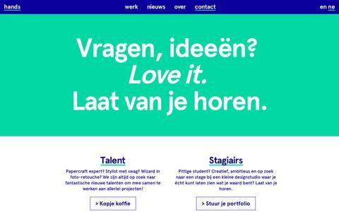 Screenshot of Contact Page studiohands.nl - Contact | Studio Hands - captured Nov. 11, 2017