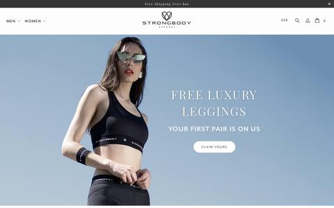 Screenshot of Home Page strongbodyapparel.com - Strongbody Apparel® | Luxury Minimalist Activewear - captured Oct. 20, 2018