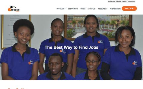 Screenshot of Jobs Page electiveafrica.com - Elective Africa - captured July 17, 2018