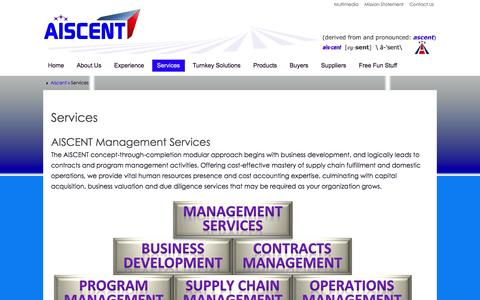 Screenshot of Services Page aiscent.com - Services - Aiscent - captured Feb. 4, 2016