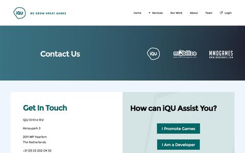 Screenshot of Contact Page iqu.com - Contact | iQU - captured Aug. 6, 2016