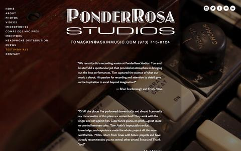 Screenshot of Testimonials Page ponderrosastudios.com - Testimonials — PonderRosa Studios - captured Sept. 30, 2014
