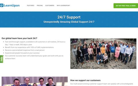 Screenshot of Support Page learnupon.com - LearnUpon LMS: Unexpectedly Amazing Global Support 24/7 - captured July 12, 2018