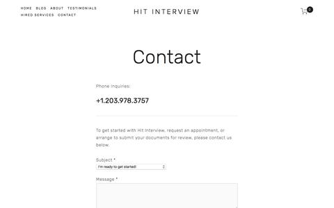 Screenshot of Contact Page hitinterview.com - Contact — Hit Interview - captured Aug. 19, 2017