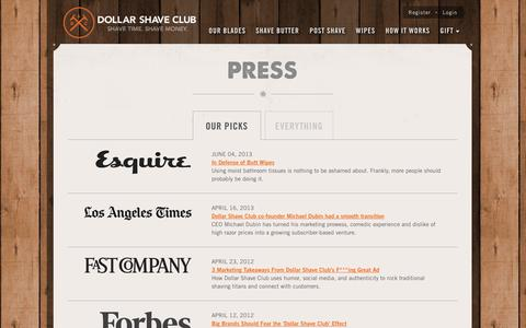 Screenshot of Press Page dollarshaveclub.com - News & Press | Dollar Shave Club - captured Sept. 15, 2014