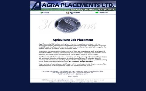 Screenshot of Home Page agraplacements.com - Farm and Ranch Jobs - Agra Placements Ltd Grain Job Postings - captured Oct. 7, 2017