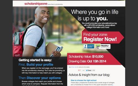 Screenshot of Home Page scholarshipzone.com - Free Easy College Scholarships | ScholarshipZone - captured Sept. 25, 2014