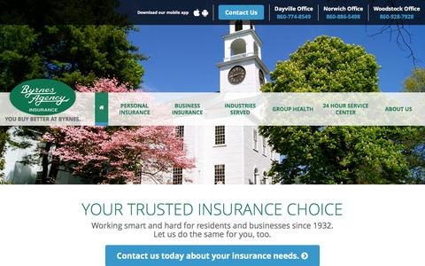 Screenshot of Home Page byrnesagency.com - Byrnes Agency | Connecticut's Insurance Agency - captured Feb. 8, 2016
