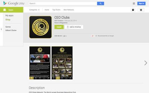 Screenshot of Android App Page google.com - CEO Clubs - Android Apps on Google Play - captured Oct. 22, 2014