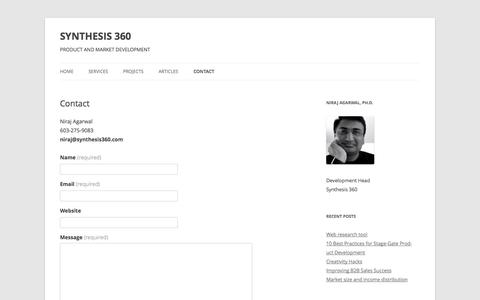 Screenshot of Contact Page synthesis360.com - Contact | SYNTHESIS 360 - captured Sept. 30, 2014