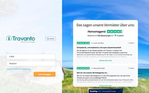 Screenshot of Login Page travanto.de - Vermieter Login - Willkommen bei Travanto - captured Nov. 22, 2019