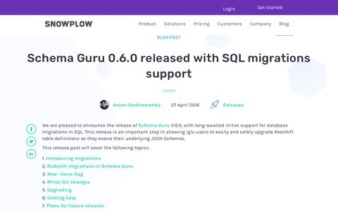 Screenshot of Support Page snowplowanalytics.com - Schema Guru 0.6.0 released with SQL migrations support - captured Feb. 10, 2020