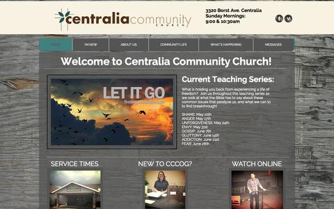 Screenshot of Home Page cccog.com - Centralia Community Church of God, CCCOG, centralia churches - captured June 19, 2015