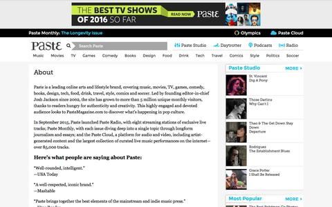 Screenshot of About Page pastemagazine.com - About :: Paste - captured July 11, 2016