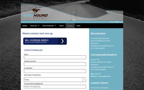 Screenshot of Contact Page greyhoundsneltransport.nl - Greyhound Sneltransport - Contact opnemen - captured July 25, 2018