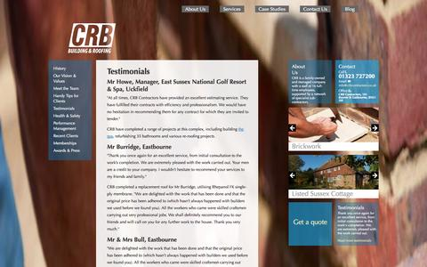 Screenshot of Testimonials Page crbcontractors.co.uk - CRB Building and Roofing Ltd - Testimonials - captured Oct. 1, 2014