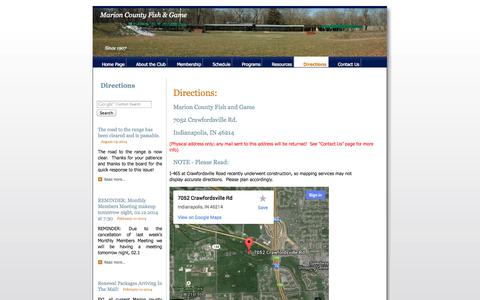 Screenshot of Maps & Directions Page indyrange.org - MCFG Indy Range - Directions to the Club for Shooting - captured Oct. 27, 2014