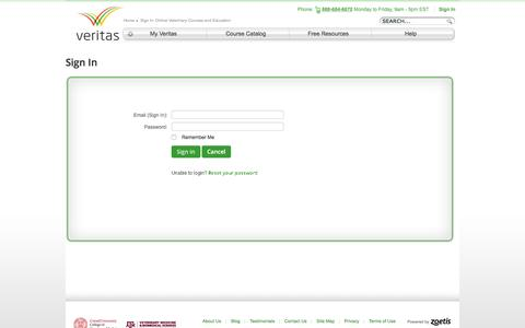 Screenshot of Login Page veritasdvm.com - Sign In: Online Veterinary Courses and Education - Veritas - captured Aug. 12, 2016