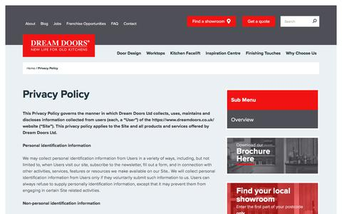 Screenshot of Privacy Page dreamdoors.co.uk - Privacy Policy - Dream Doors - captured Jan. 19, 2018