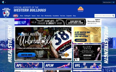 Screenshot of Home Page westernbulldogs.com.au - Official AFL Website of the Western Bulldogs - captured Oct. 19, 2018
