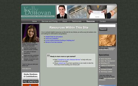 Screenshot of Blog kellydonovan.com - Resources - Executive Resume Writing Services | Los Angeles Executive Resume Writer - captured Oct. 6, 2014
